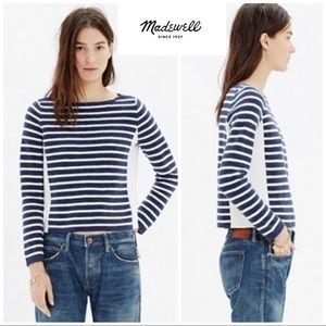 Madewell Striped Zipper blue white sweater